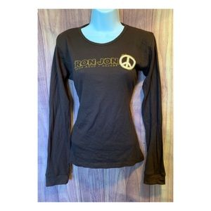 Ron Jon Peace Long Sleeve Brown Top SZ XL